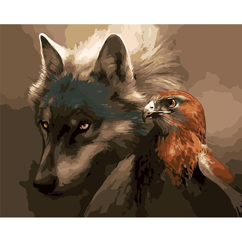 Wolf And Hawk - Animals Paint By Numbers