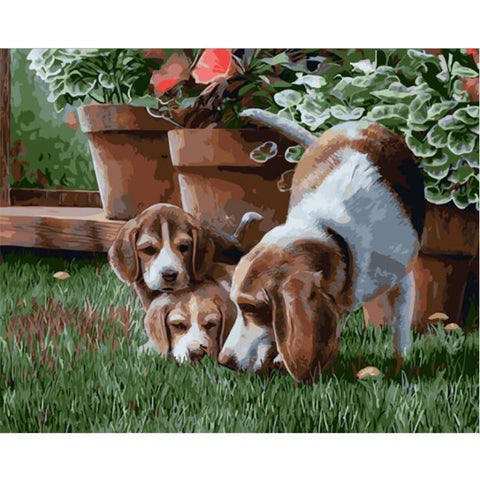 Dog And Two Puppies - Animals Paint By Numbers