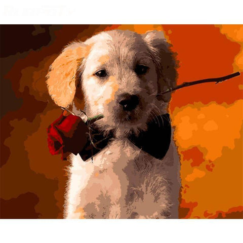 Puppy Holding a Rose - Animals Paint By Numbers
