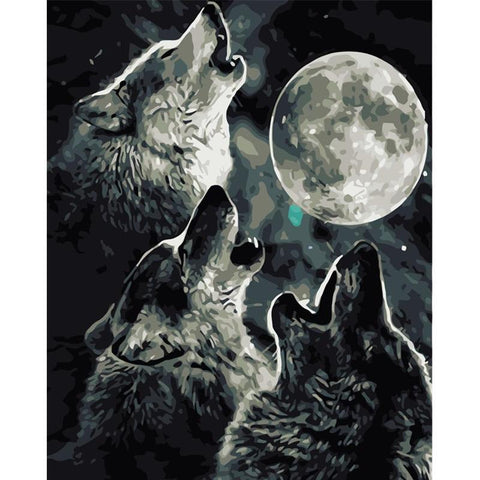 Wolves Howling At The Moon - Animals Paint By Numbers