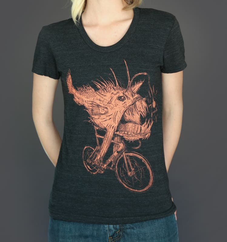 Anglerfish on a Bicycle Womens T-Shirt - Ladies Tees