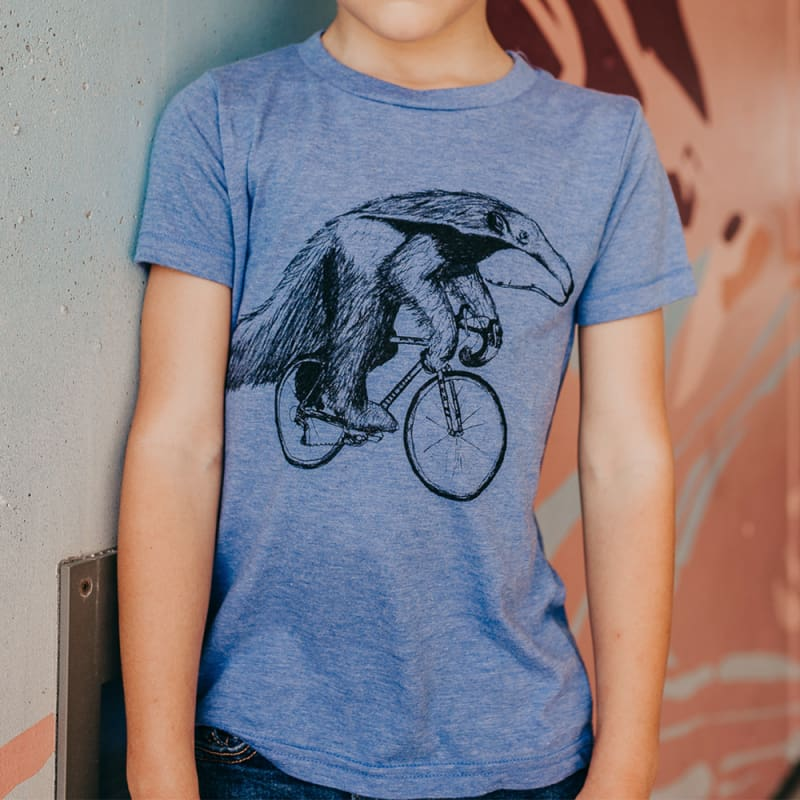 Anteater on a Bicycle Kids T-Shirt - T-Shirt / Athletic Blue / 2 - Kids Shirts