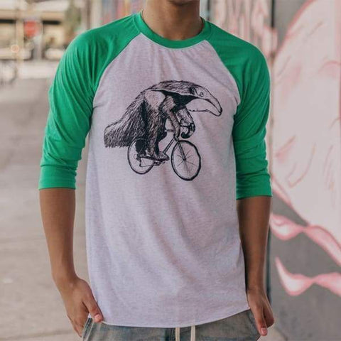 Anteater on a Bicycle Men's Baseball Tee
