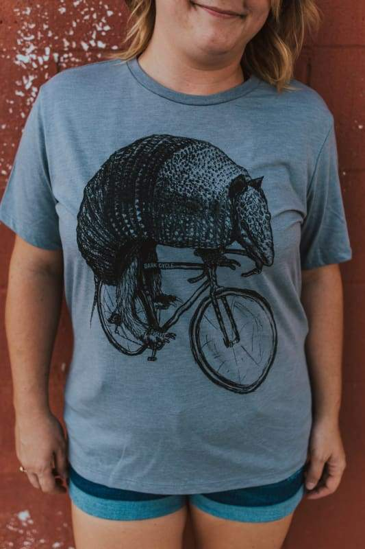 Armadillo on a Bicycle Womens Shirt - Relaxed / S / Storm Tri-Blend - Ladies Tees