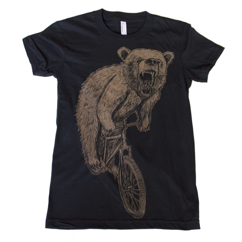 Bear on a Bicycle Womens T-Shirt - Womens Tee / Black / S - Animals on Bikes