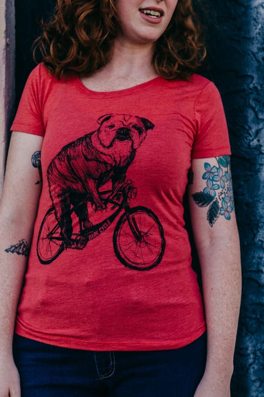 Bulldog Riding a Bicycle Womens T-Shirt - XS / Red - Ladies Tees