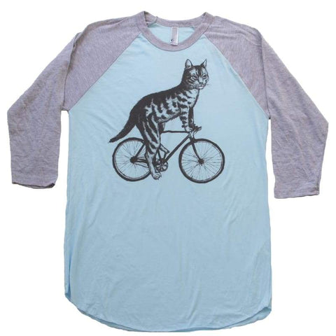 Cat On A Bicycle Men's Baseball Tee