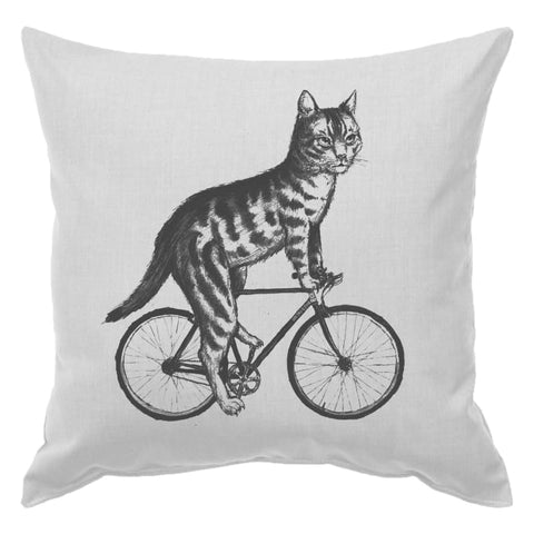Cat On A Bicycle Pillow