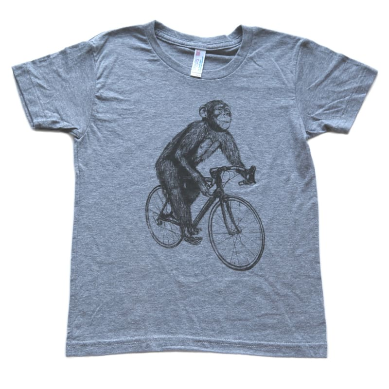 Chimpanzee on a Bicycle Kids T-Shirt - Kids Tee / Athletic Grey / 2 - Animals on Bikes