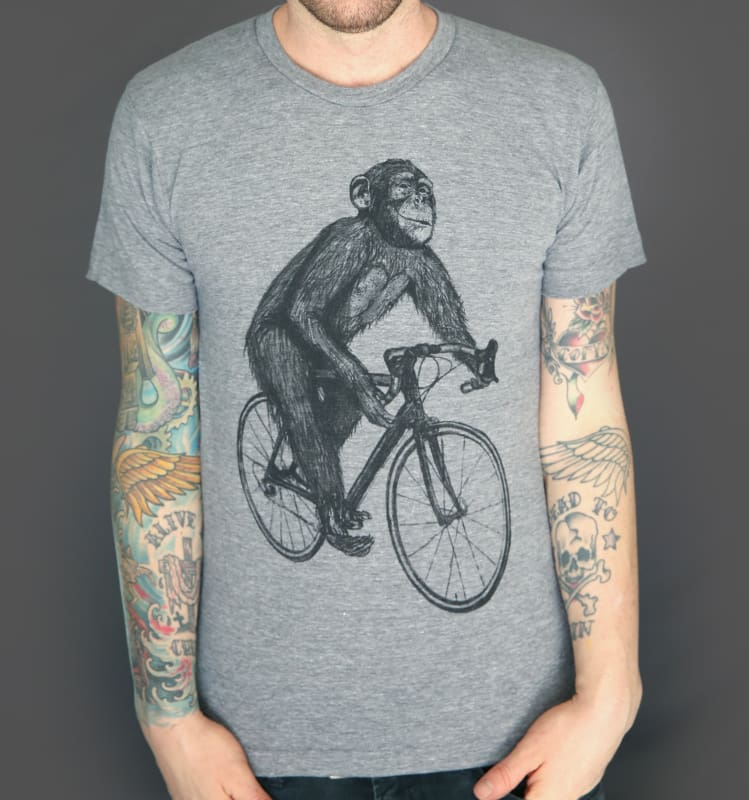 Chimpanzee on a Bicycle Mens T-Shirt - TriGrey / XS - Unisex Tees