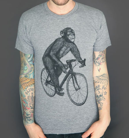 Chimpanzee on a Bicycle Men's T-Shirt