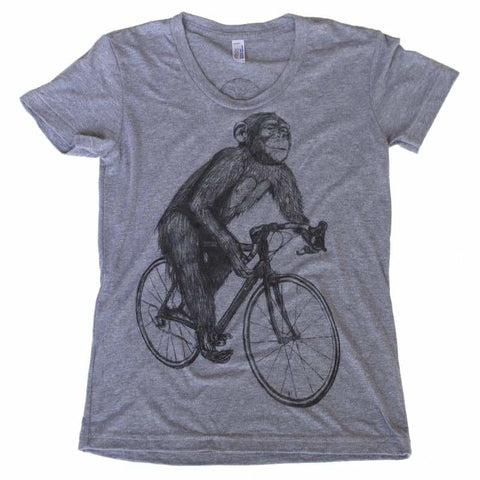 Chimpanzee on a Bicycle Women's T-Shirt