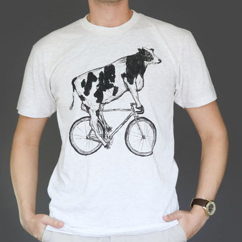 Cow on a Bicycle Unisex Men's T-Shirt