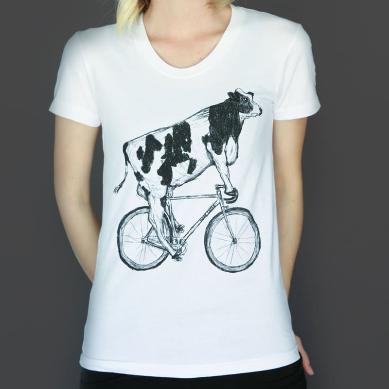 Cow on a Bicycle Womens T-Shirt - Ladies Tees