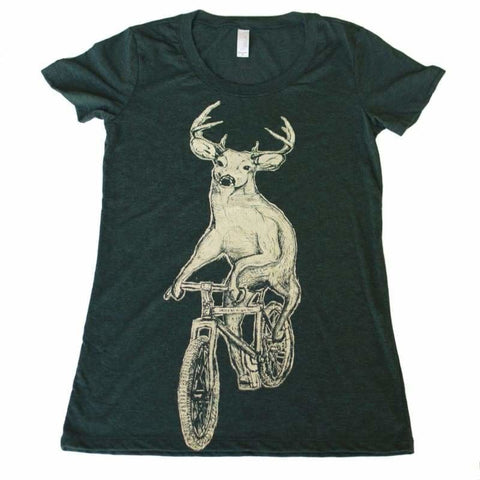 Deer on a Mountain Bicycle Women's T-Shirt