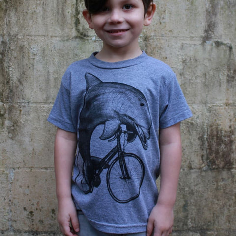 Dolphin on a Bicycle Kids T-Shirt