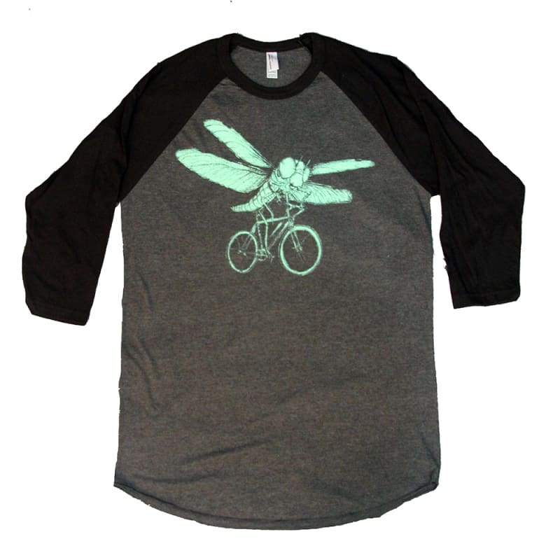 Dragonfly on a Bicycle Unisex Baseball Tee - Baseball Tees