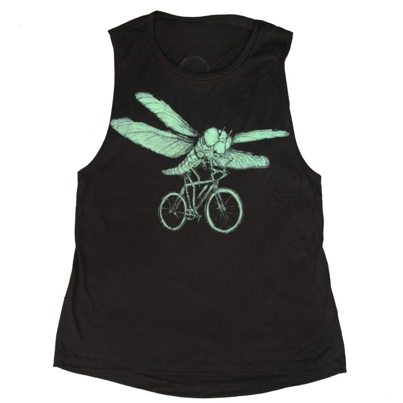 Dragonfly on a Bicycle Womens Muscle Tank Top - Ladies Tanks