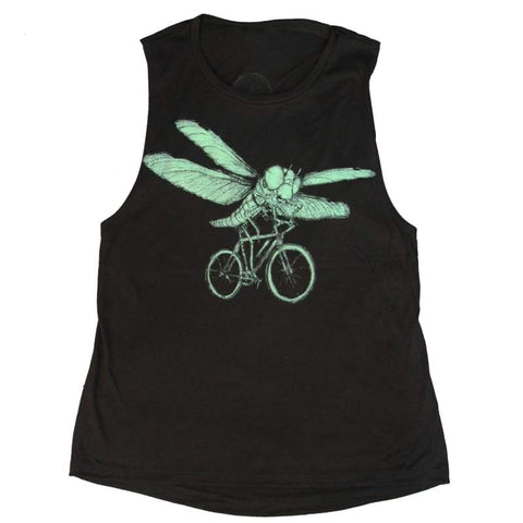 Dragonfly on a Bicycle Women's Muscle Tank Top