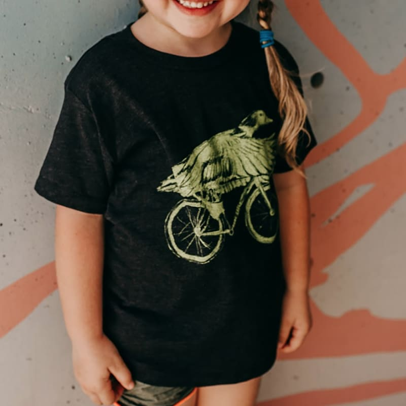 Duck on a Bicycle Kids T-Shirt - Tri-Black / 2 - Kids Shirts