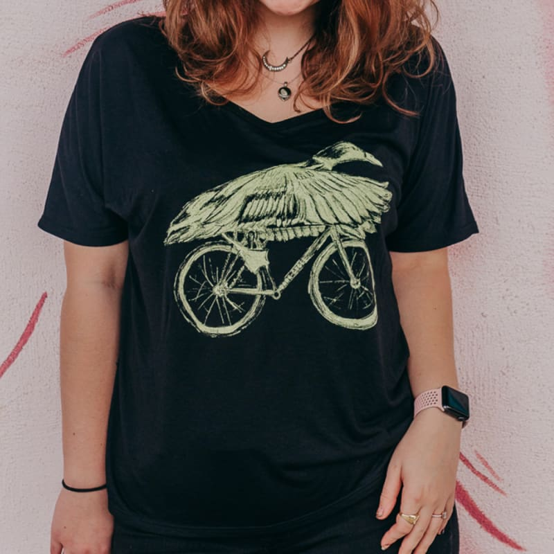 Duck on a Bicycle Womens Slouchy T-Shirt - Womens Tee / Black / S - Ladies Tees