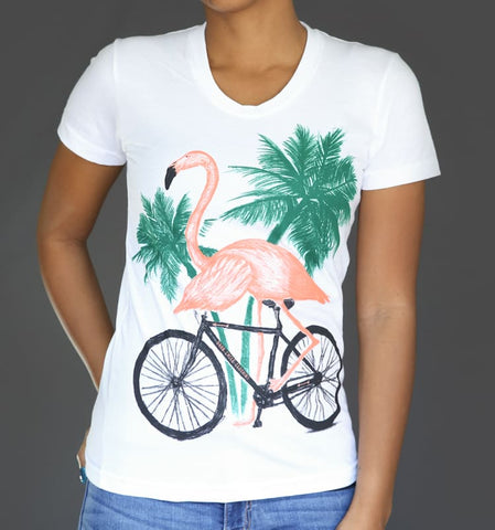 Flamingo on a Bicycle Women's T-Shirt