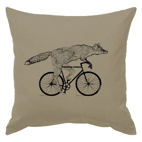 Fox on a Bicycle Pillow