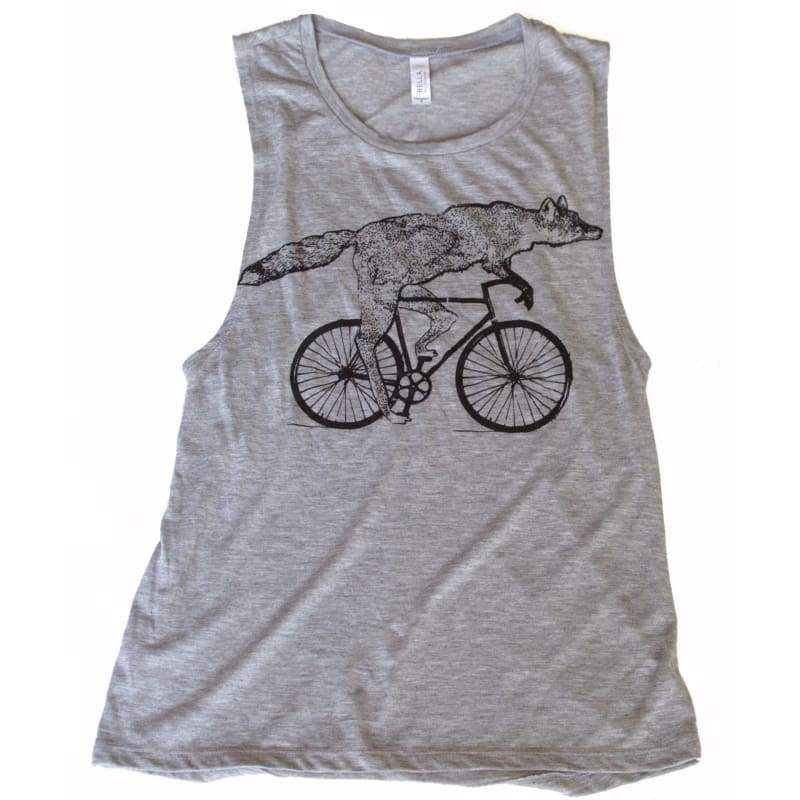 Fox on a Bicycle Womens Muscle Tank Top - Womens Muscle / Athletic Grey / S - Ladies Tanks
