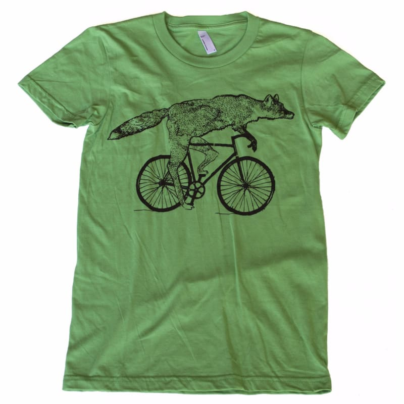 Fox on a Bicycle Womens T-Shirt - Womens Tee / Grass / S - Ladies Tees