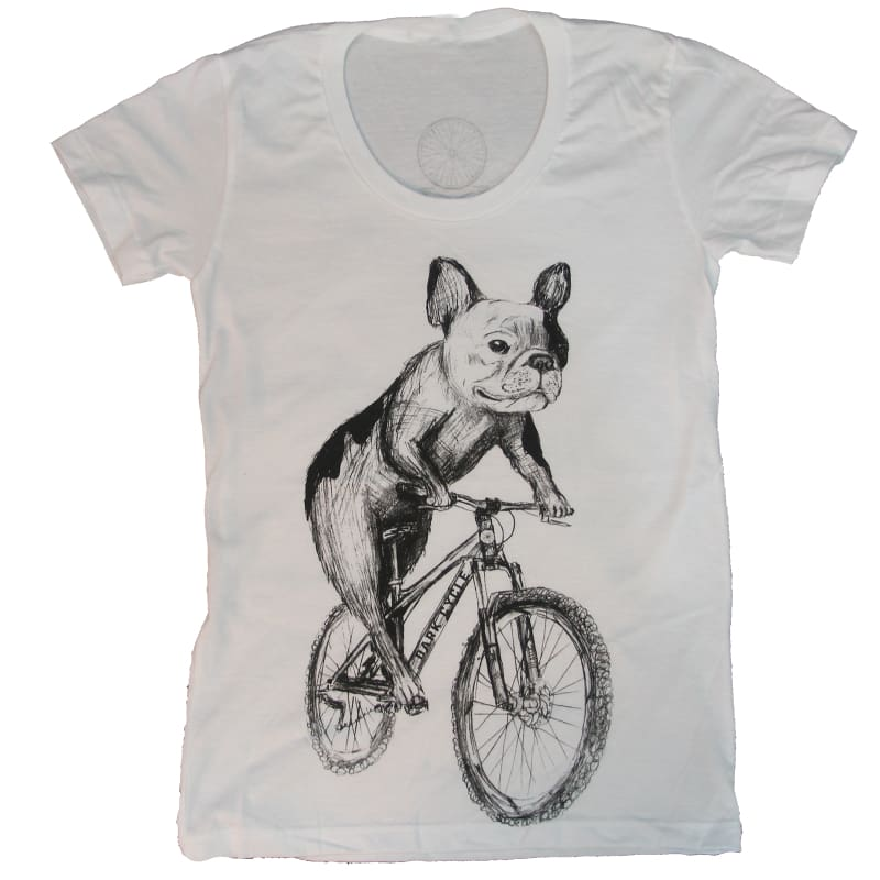 French Bulldog on a Bicycle Womens T-Shirt - Ladies Tees