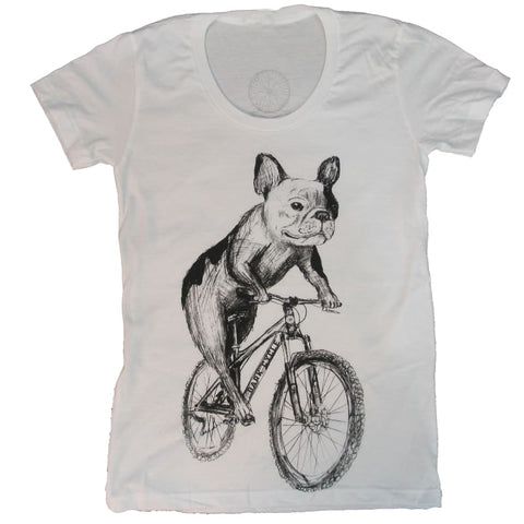 French Bulldog on a Bicycle Women's T-Shirt