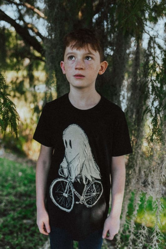Ghost on a Bicycle Kids T-Shirt - Black / 2 - Kids Shirts