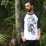Goat on a Mountain Bicycle Unisex Baseball Tee - Baseball Tees