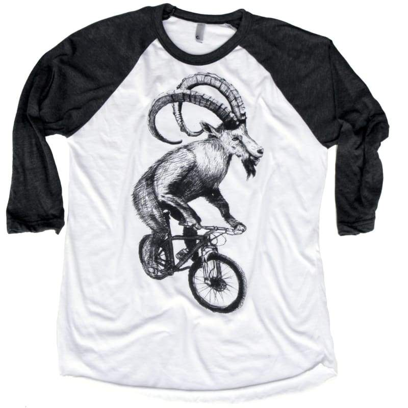 Goat on a Mountain Bicycle Unisex Baseball Tee - Baseball Tee / White/Heather Black / XS - Baseball Tees