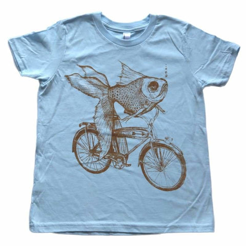 Goldfish on a Bicycle Kids T-Shirt