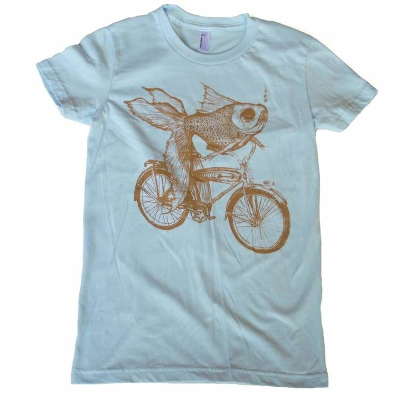 Goldfish on a Bicycle Womens T-Shirt - Womens Tee / Light Blue / S - Animals on Bikes