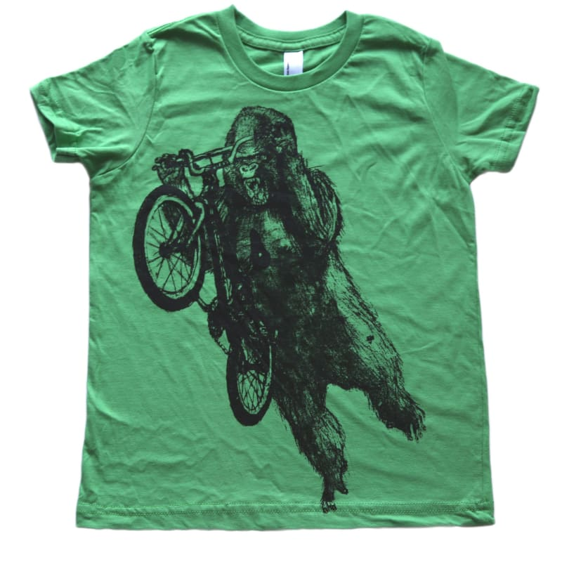 Gorilla on a BMX Bike Kids T-Shirt - Kids Tee / Leaf / 2 - Kids Shirts