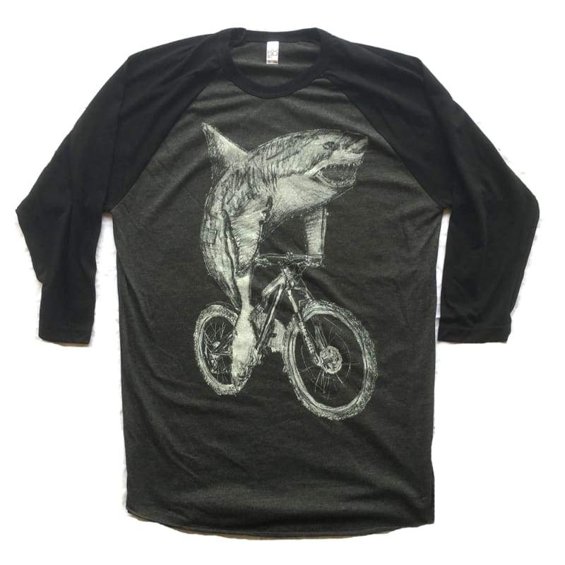 Great White Shark on a Bicycle Baseball Tee - Baseball Tee (Black/ Heather Black) / Heather Black/Black / XS - Baseball Tees