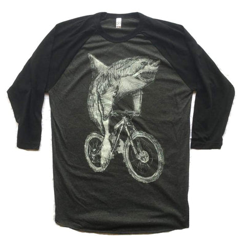 Great White Shark on a Bicycle Baseball Tee