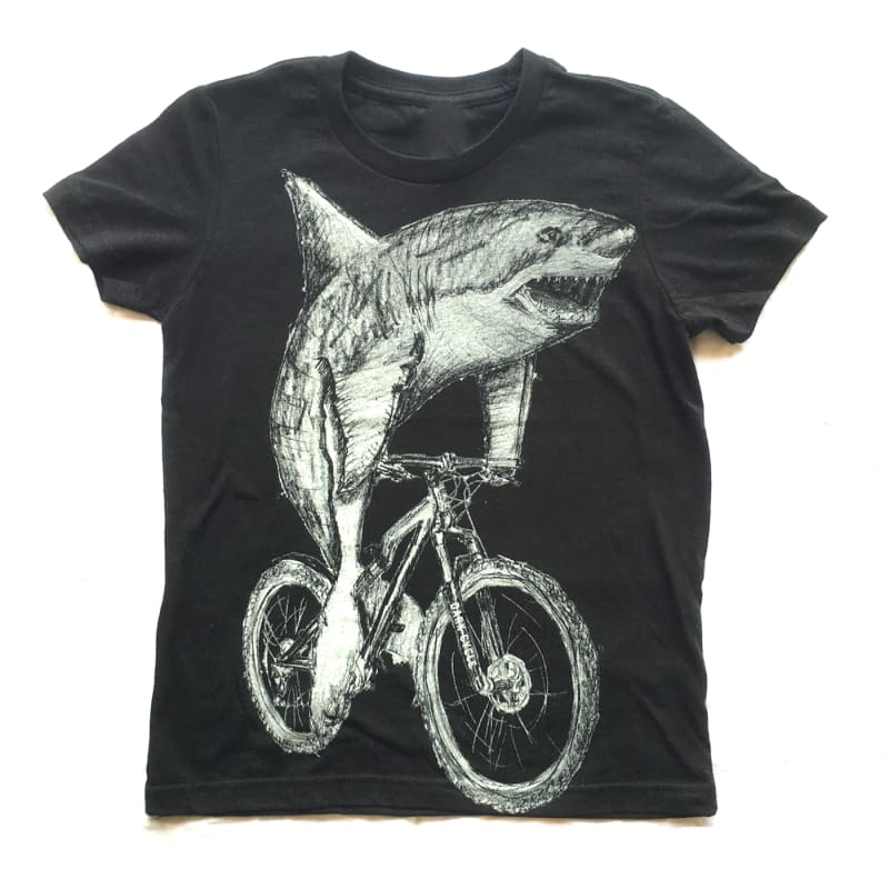 Great White Shark on a Bicycle Kids T-Shirt - Kids and Youth Tee (Black Heather) / Tri-Black / 6 - Kids Shirts