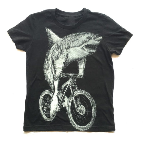 Great White Shark on a Bicycle Kids T-Shirt