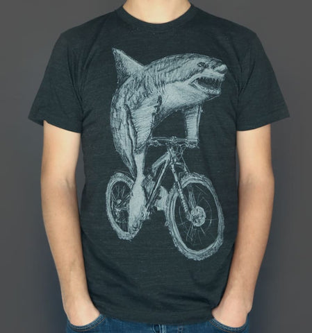 Great White Shark on a Bicycle Men's T-Shirt