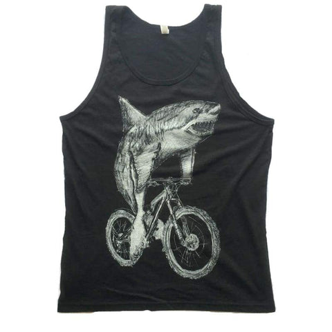 Great White Shark on a Bicycle Men's Tank Top