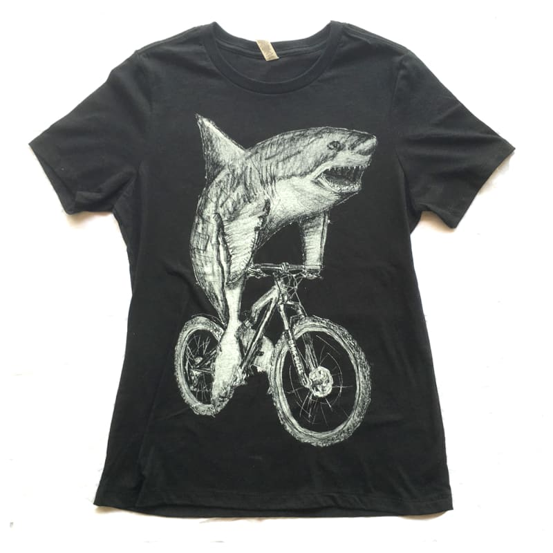 Great White Shark on a Bicycle Womens T-Shirt - Womens Relaxed Tee(black Heather) / Black Heather / S - Ladies Tees