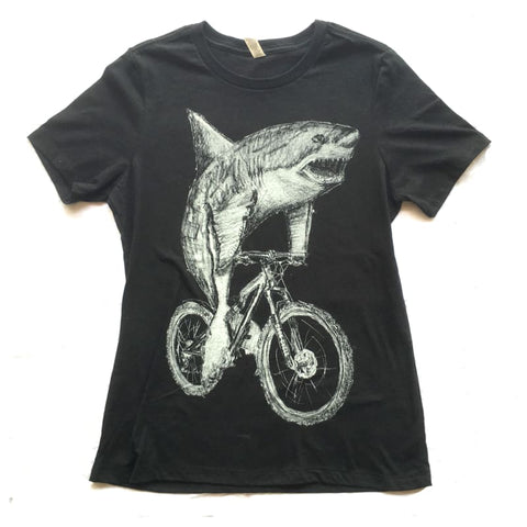 Great White Shark on a Bicycle Women's T-Shirt