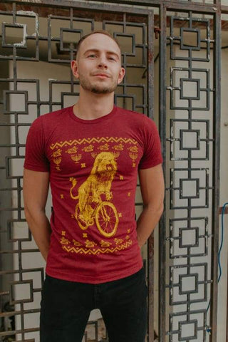 Hanukkah Lion on a Bicycle Men's Shirt