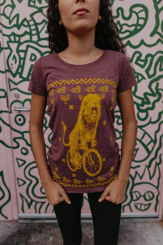 Hanukkah Lion on a Bicycle Womens Shirt - Regular / S / Maroon - Ladies Tees