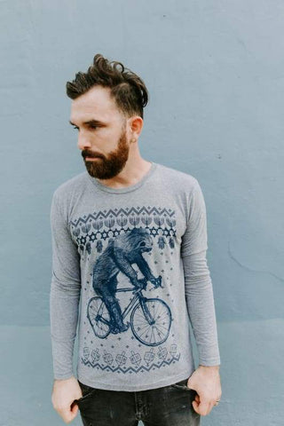 Hanukkah Sloth on a Bicycle Men's Long Sleeve Shirt