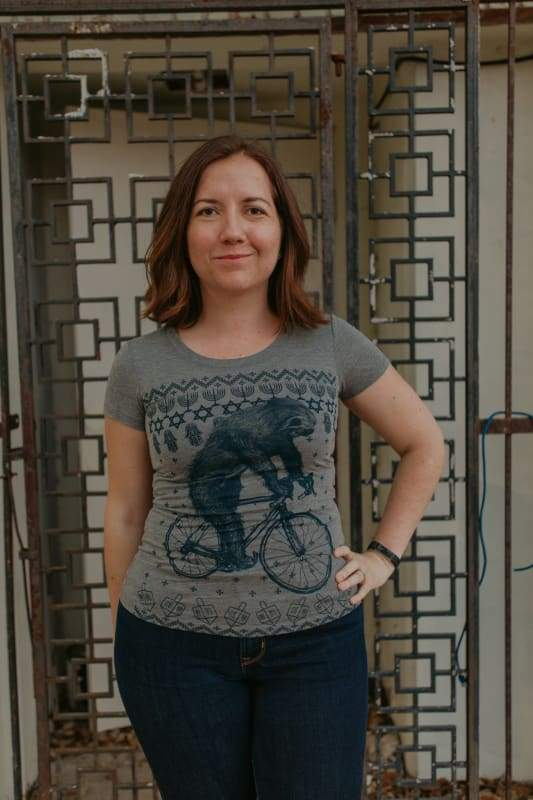 Hanukkah Sloth on a Bicycle Womens Shirt - Regular / Gray Tri-Blend / S - Ladies Tees