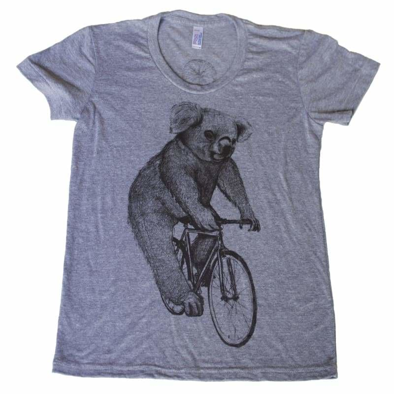 Koala on a Bicycle Womens T-Shirt - Womens Tee / Athletic Grey / S - Animals on Bikes